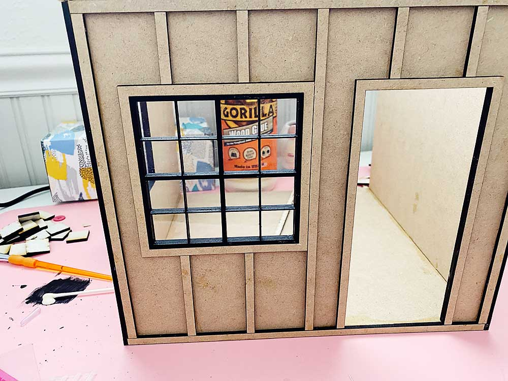 This weekend I worked on my dollhouse room box windows. I didn't have time to really focus on the project this weekend, so I didn't get much more done that this.